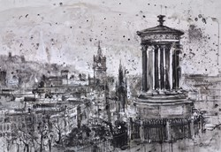 Calton Hill, Edinburgh by Tim Steward - Original Drawing, Paper on Board sized 39x28 inches. Available from Whitewall Galleries